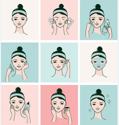 Womans face with different facial treatments vector