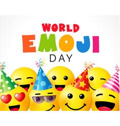 World emoji day smile background template vector