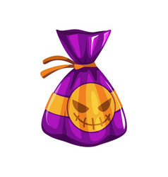 Wrapped choco sweet candy with scary ghost isolate vector