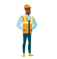 young african-american builder laughing vector image