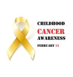 Childhood Cancer Awareness gold ribbon banner vector image