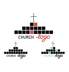church logo with cross and cubes vector image vector image