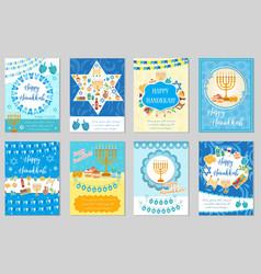 happy hanukkah set of greeting cards flyer vector image