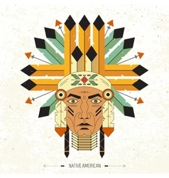 Linear portrait of native Indian vector image