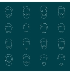 Mans hair set of beards and mustaches line vector image