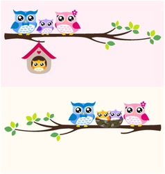 owl happy family vector image vector image