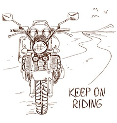 Sketch with motorbike vector image