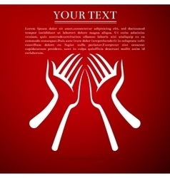 Two hands flat icon on red background vector image