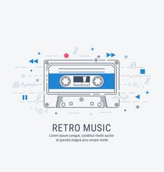 audio cassette modern line art style vector image vector image