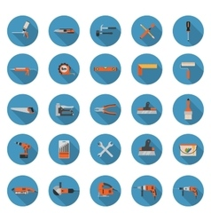 Construction tools icons set - Flat style vector image vector image