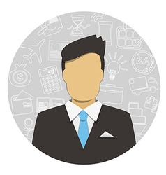 Man in Business Suit with icons vector image vector image