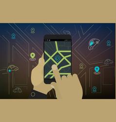 mobile car sharing navigation location app vector image vector image