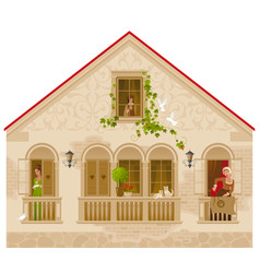 retro stone house with people in windows vector image vector image