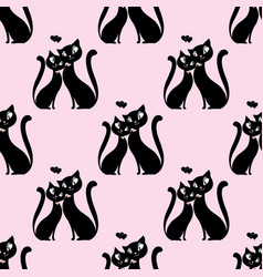 seamless pattern couple of lovers of cats vector image