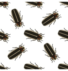 Seamless pattern with firefly beetle Lampyridae vector image vector image