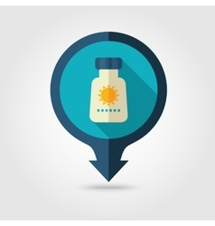 Sunscreen pin map flat icon Summer Vacation vector image vector image