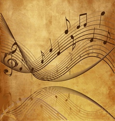 Vintage background with Music notes vector image