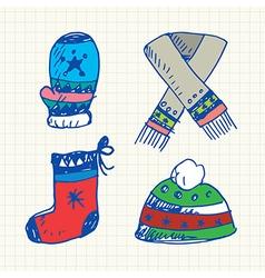 Winter doodles set vector image vector image