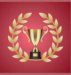 gold trophy cup and laurel wreath vector image