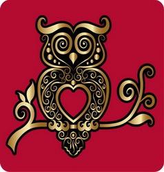 Golden owl ornament vector image vector image