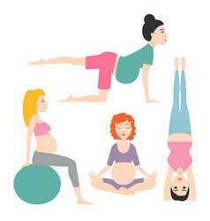 pregnancy sport fitness people healthy character vector image