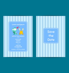 save the date wedding invitation with cute vector image