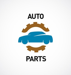 Auto parts logo template Car silhouette with gear vector image vector image