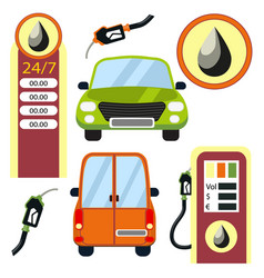cars and gas station elements set vector image