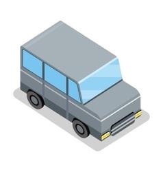 Isometric Gray Jeep Icon vector image