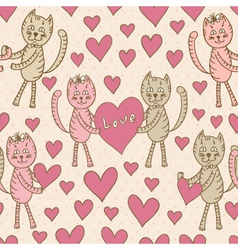 Love cats seamless pattern for Valentines Day vector image vector image