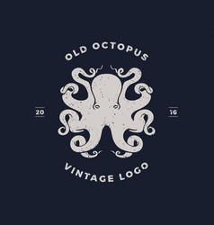 octopus silhouette logo invert vector image vector image