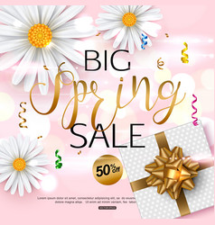 pink spring sale banner with chamomile flower vector image