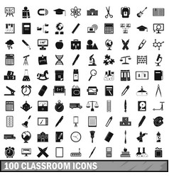 100 classroom icons set simple style vector
