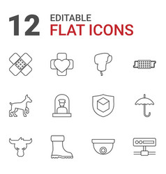 12 protection icons vector