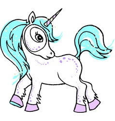 a little fairy unicorn with rainbow vector image