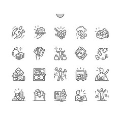 a lot of money thin line icons vector image