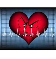 Angry heart on blue with cardio line vector