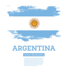 Argentina flag with brush strokes independence day vector