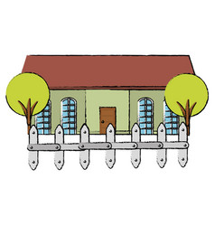 beautiful house building with trees and fence vector image