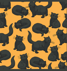 Black cat seamless pattern vector