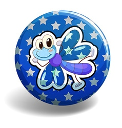 Blue dragonfly on round badge vector