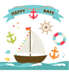 boat cute card vector image