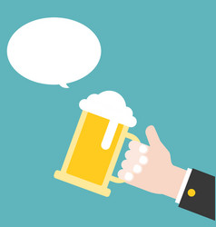 business hand holding beer jug flat design vector image