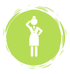 businesswoman green circle portrait stamp style vector image