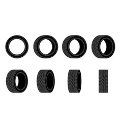 car tire icon different angles tires wheel flat vector image