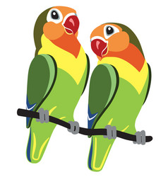 Cartoon fischer lovebirds vector