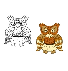 Cartoon outline brown owl bird vector