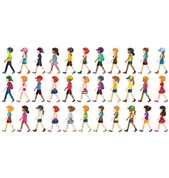 Children walking vector image