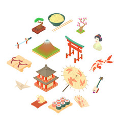 china traditional culture icons set cartoon style vector image