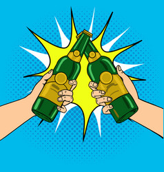 clink beer bottles pop art vector image
